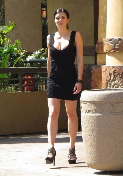 Adrianne Curry In Black Mini Dress Universal Studios Hollywood Adrianne Curry
