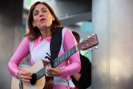 Amy Jo Johnson Performs In Her Pink Power Ranger Suit Out In Toronto