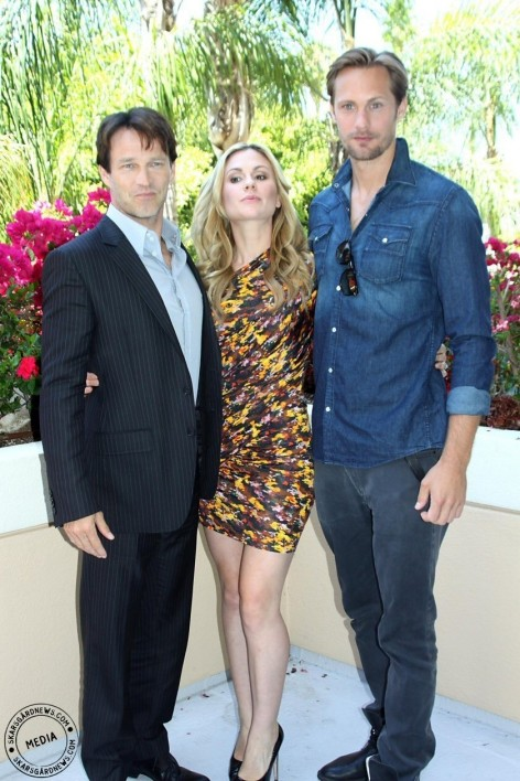 Stephen Moyer Anna Paquin And Alexander Skarsgard At True Blood Press Conference Sookie And Eric Anna Paquin
