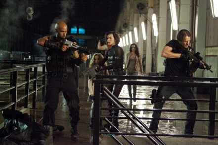 Still Of Milla Jovovich Boris Kodjoe Michelle Rodriguez Johann Urb And Aryana Engineer In Resident Evil Retribution Large Picture