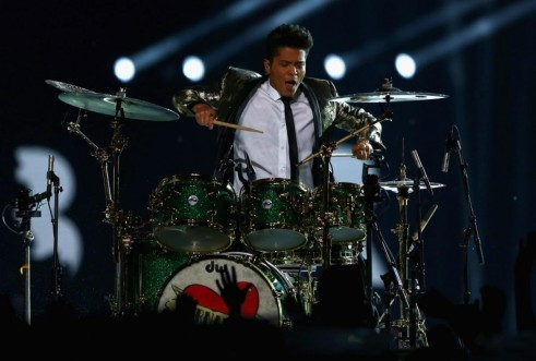 Bruno Mars Performs Super Bowl Halftime Music