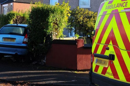 Car In Hedge At The Junction Of Murray Road And Radford Road