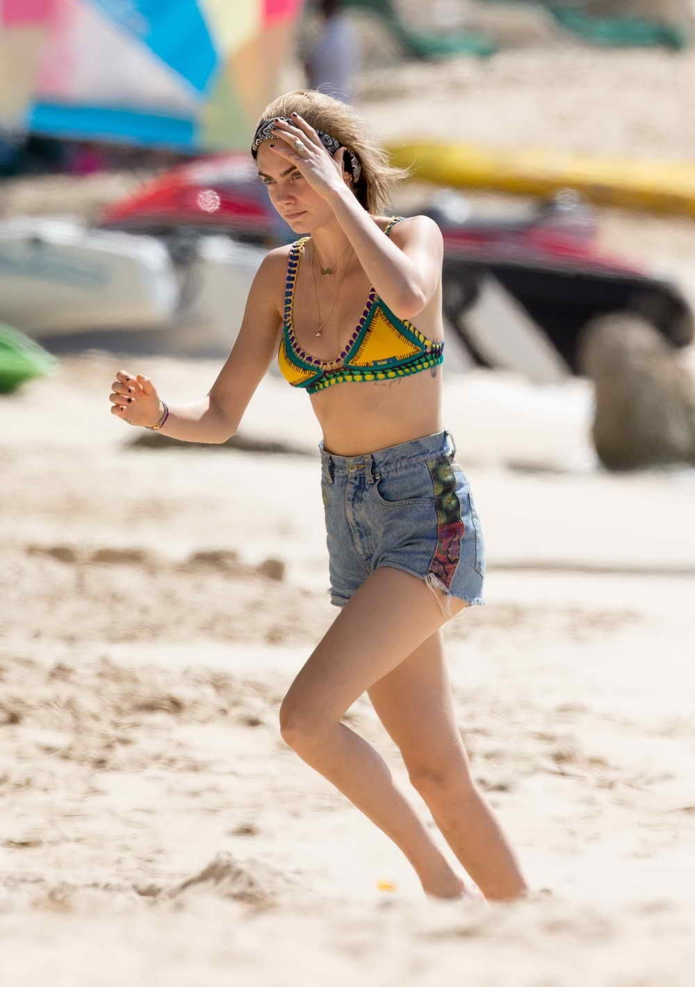 Cara Delevingne In Bikini Top At The Beach In Barbados Cara Delevingne