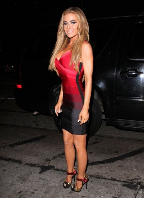 Carmen Electra Red Black Dress Legs Heels Carmen Electra