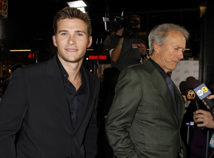 Director Clint Eastwoodwith His Son Scott Eastwood At His Side Clint Eastwood