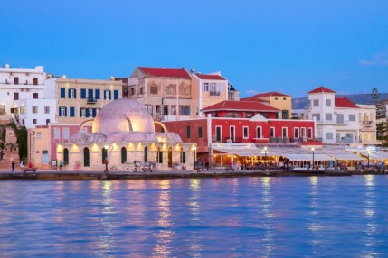 Chania Travel Guide For Holidays In Chania Flights Hotels Beaches And Other Information Venetian Habour Of Chania At Night Crete Greece Holidays