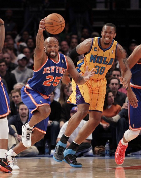 New York Knicks Anthony Carter Steals Ball Intended For New Orleans Hornets David West At Madison Square Garden New York