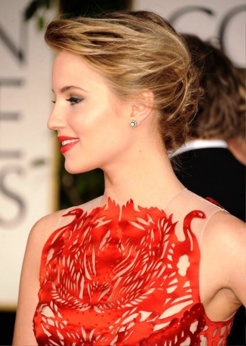 Dianna Agron Bobby Pinned Messy Updo Hair