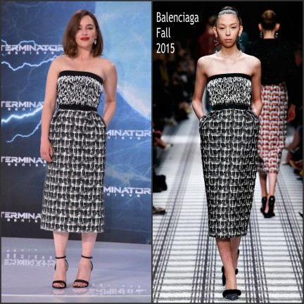 Emilia Clarke In Balenciaga At The Terminator Genisys Paris Berlin Premiere
