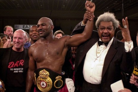 Ap Do Not Use Boxing Pormoter Don King Rignt Holds Up The Arm Of Evander Holyfield Vs Mike Tyson