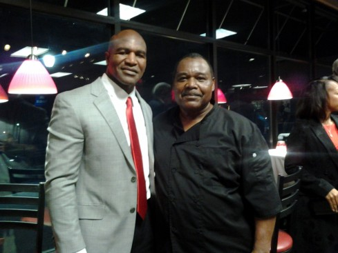 Kenneth Matthews With Evander Holyfield Superbowl Ms Piggies Smokehouse Catering Event