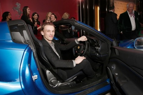 Jamie Campbell Bower Inside The Ferrari Spider At The Uk Launch At The Watches Of Switzerland Store London Jamie Campbell Bower