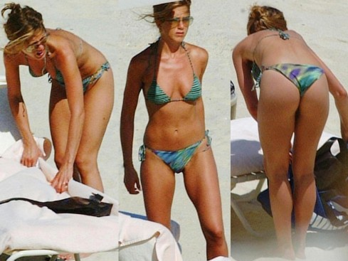 Jennifer Aniston Green Stripped Bikini Beach Tb Body