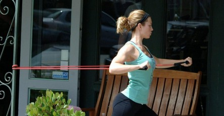Jessica Biel Exercise Bands Workout