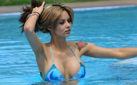 Jessica Jane Clement In Bikini Swimming Pool Tattoo Jessica Jane Clement