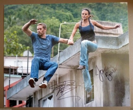 Paul Walker Jordana Brewster Signed Fast Furious Roof Jump Coa And Paul Walker