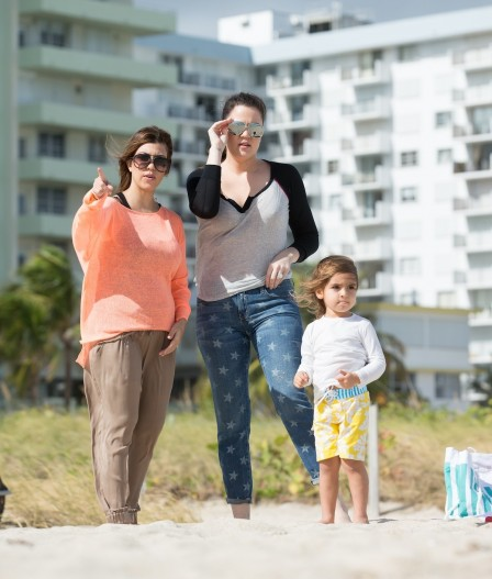 Kourtney Khloe Kardashian Miami Beach Mason Dash Disick Beach