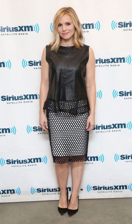 Fashion Kristen Bell Elizabeth And James Leather Top Mesh Pencil Skirt Main Kristen Bell