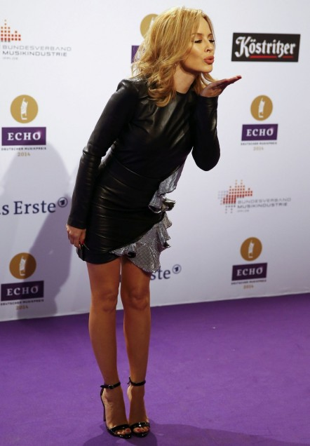 Kylie Minogue Wearing Anthony Vaccarello Long Sleeved Mini Dress Echo Music Awards Kylie Minogue