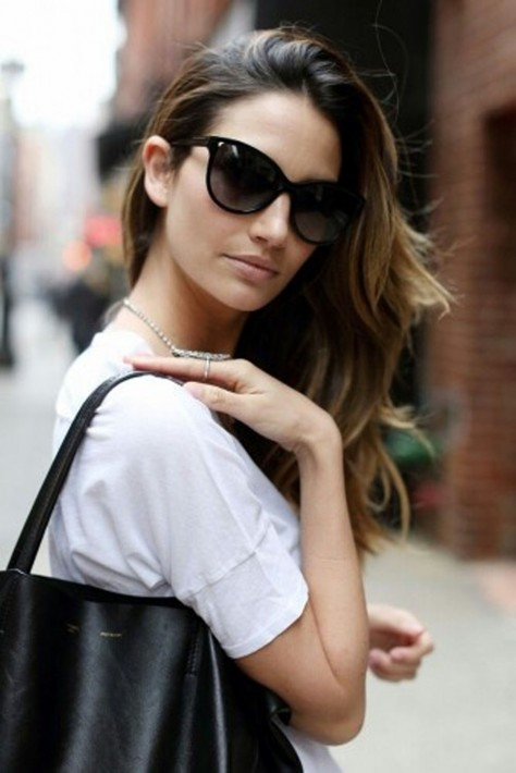 Lily Aldridge Model Sunglasses Bag Minimal Model