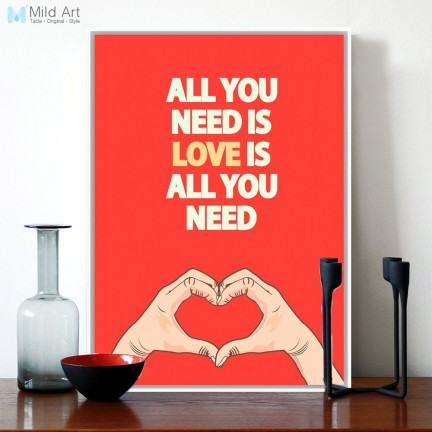 Modern Red Love Quotes Inspirational Typography Hand Drawing Poster Print Hippie Canvas Painting Nordic Bedroom Love Is All You Need