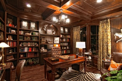 Neat Library In Brown Color For Luxury Home Offices Ideas With Classic Chair And Teak Table Plus Lamp Shade Vicinity Floral Ceiling Curtains Luxury Offices
