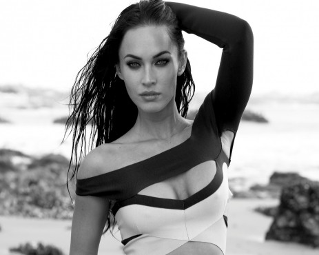 Megan Fox Black White Wallpaper