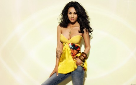 Megan Fox In Yellow Dress And Jeans Pant Wallpaper