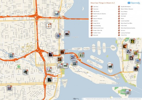 Miami Attractions Map Large Map