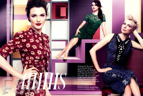 Instyle Magazine Michelle Williams Rachel Weisz Mila Kunis Editorial Fashion