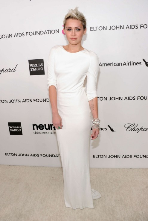 Miley Cyrus Elton John Aids Foundation Academy Awards Party