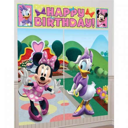 Minnie Daisy Scene Setter Happy Birthday Ft Free Glue Dots Partymode Partymode Minnie Mouse