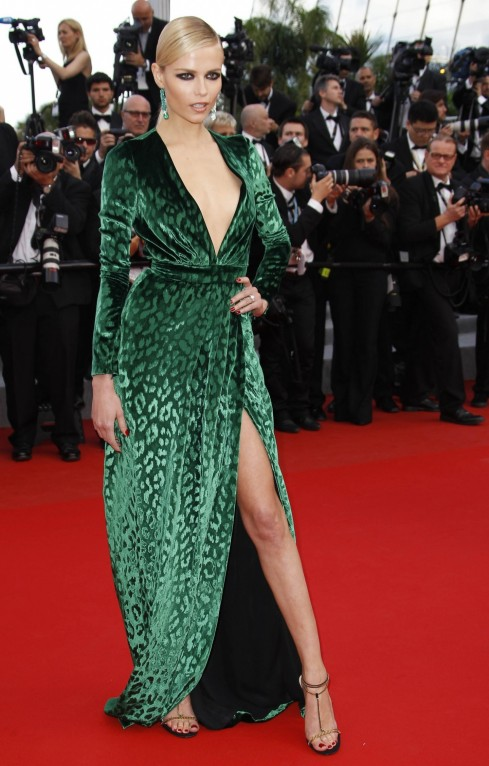 La Modella Mafia Best Dressed Fashion At Cannes Film Festival Natasha Poly In Velvet Green Leopard Thigh High Slit Gucci Dress Dark Hair