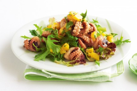 Barbecued Baby Octopus Salad With Mango Salsa And Chilli Lime Dressing Octopus