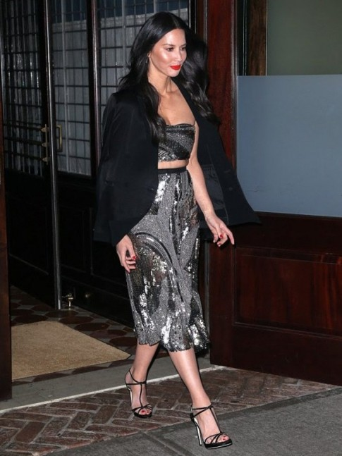 Olivia Munn New York Office Christmas Party Sally Lapointe Spring Black Silver Crop Top Skirt Olivia Munn