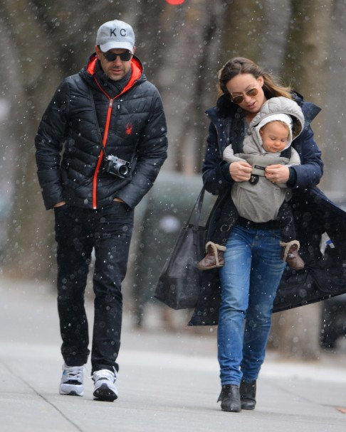 Olivia Wilde And Her Fiance Jason Sudeikis Take Baby Otis On Snowy Walk In Brooklyn Ny March