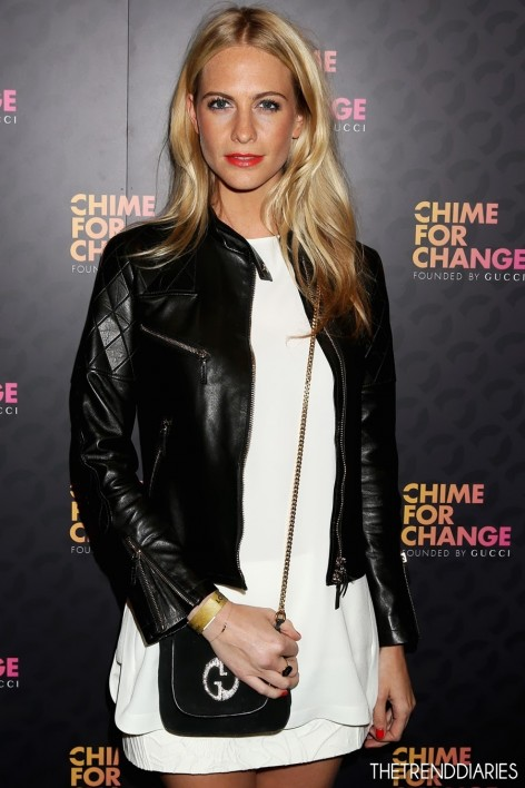 Poppy Delevingne Sound Chime For Change Gucci Style Bag White Dress Leather Jacket