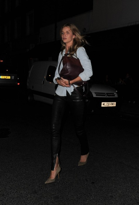 Rosie Huntington Whiteley Anine Bing Leather Skinny Pant