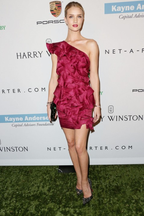 Rosie Huntington Whiteley Best Dressed Fuschia Minidress Hair