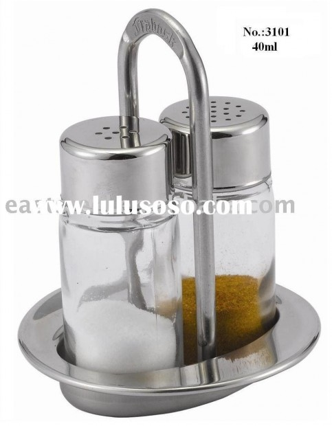 Pc Glass Salt And Pepper Shaker With Holder