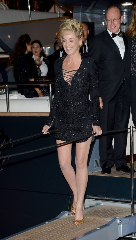 Sharon Stone Roberto Cavalli Hosts Annual Party Aboard His Yacht Cannes Film Festival Sharon Stone