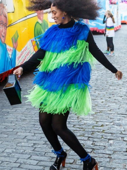 Solange Knowles New Orleans Moschino Spring Blue Green Fringe Dress Solange Knowles
