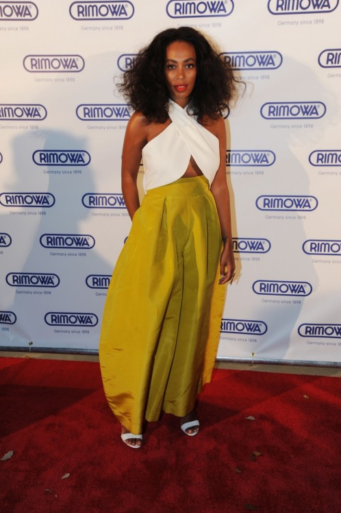 Solange Knowless Art Basel Rimowa Opening Rosie Assoulin Fall White Crossover Crop Top And Yellow Skirt Solange Knowles