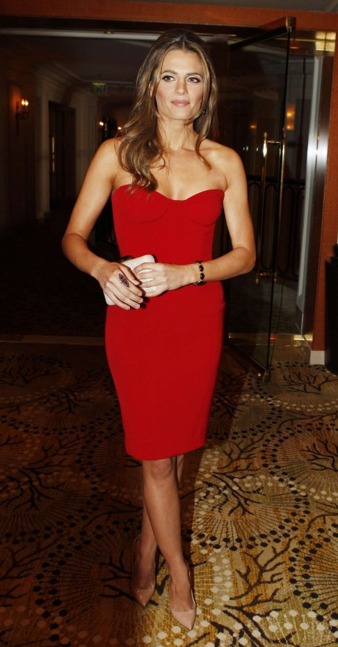 Stana Katic In Red Dress At Consulate General Of Canada Luncheon