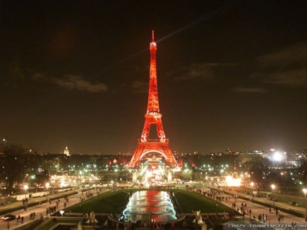 Eiffel Tower Red Lights Wallpapers
