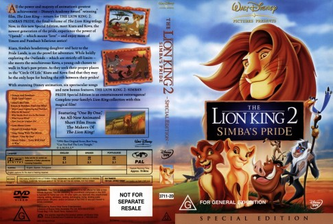 The Lion King Simba Pride Se Front Wwwgetdvdcoverscom The Lion King
