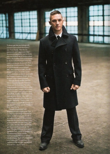 Tom Hardy Double Breasted Pea Coat Out Magazine Prada Tom Hardy