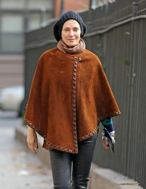 Uma Thurman In Suede Poncho Out In New York City December Uma Thurman