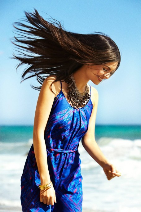 Victoria Justice Victoria Blue Sundress Beach