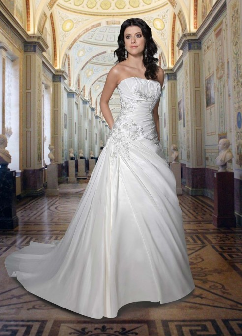 Satin Line Strapless Straight Neckline Rouched Bodice Wedding Dress Dress